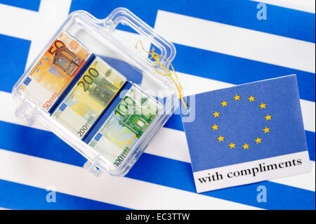 Suitcase with euro banknotes and EU greeting card, Greek financial crisis - Stock Photo