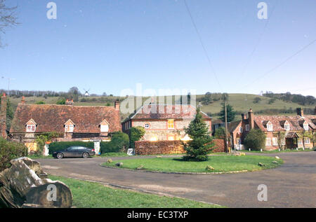The village of Turville, Bucks, UK, photographed at night in winter by the light of the full Moon only. - Stock Photo