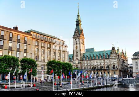 Town hall and Reesendamm in Hamburg, Germany - Stock Photo