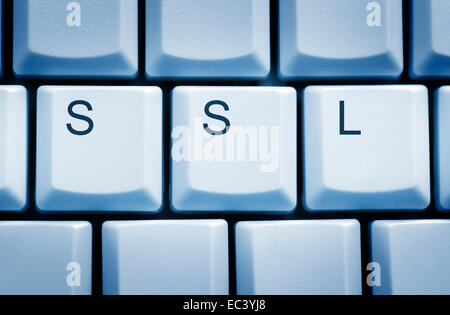 Computer keyboard and SSL keys, heartbleed bug - Stock Photo