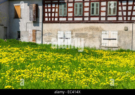 old and abandoned timber-frame house - Stock Photo
