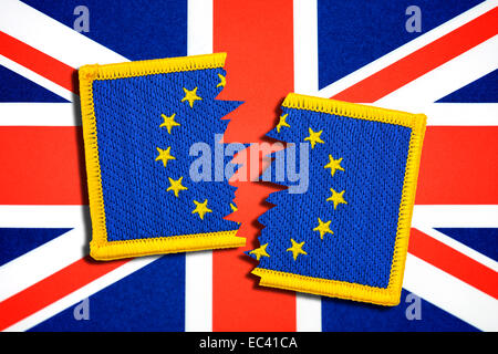 Torn EU flag in front of Union Jack - Stock Photo