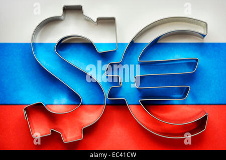 Dollar and euro sign on flag of Russia, sanctions against Russia - Stock Photo