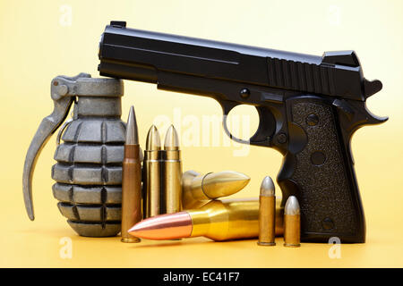 Hand grenade, gun and ammunition, German delivery of arms - Stock Photo