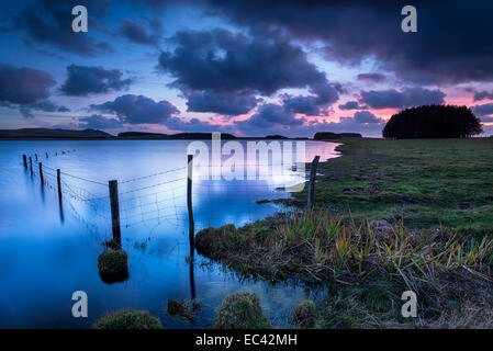 Sunset over the Crowdy Reservoir near Davidstow on Bodmin Moor in Cornwall