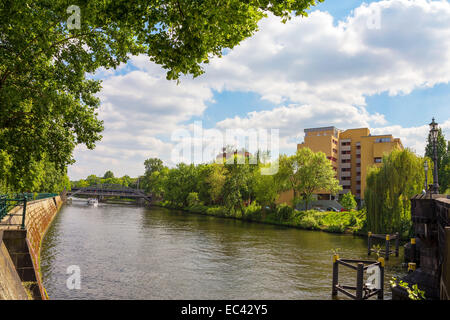 on the Spree River in Berlin Mitte - Stock Photo