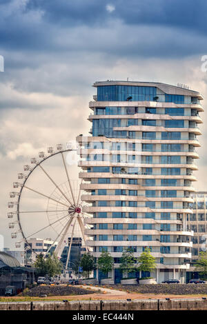 The Marco Polo Tower in Hamburg s HafenCity - Stock Photo