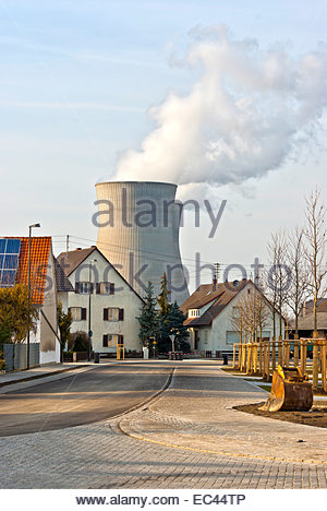 Atomic power station and village of Gundremmingen, Bavaria, Germany. - Stock Photo