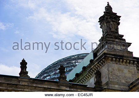 Berlin, capital city of Germany View of the Reichstag Building, seat of the German Bundestag Parliament - Stock Photo