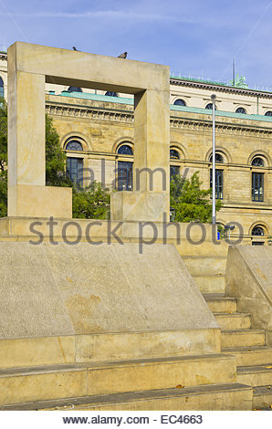 Memorial to the murdered jews of Hanover on the Opernplatz Square, Hannover, Germany - Stock Photo