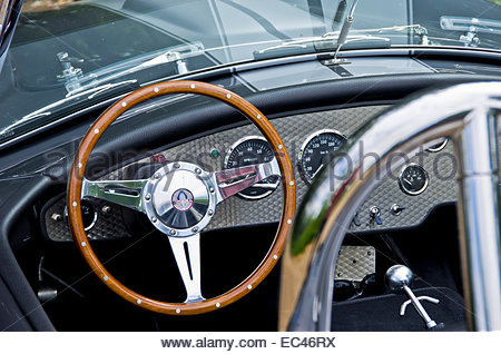 Steering wheel and dashboard of a Shelby Cobra 427 classic car for editorial use only - Stock Photo