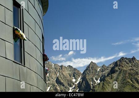 At a mountain shelter in the Alps, Cabane du Velan, Valais, Switzerland - Stock Photo