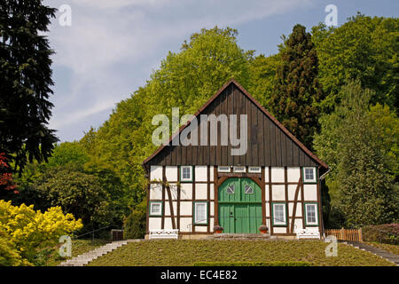 Bielefeld, half timbered house in the botanic garden, North Rhine Westphalia, Germany - Stock Photo