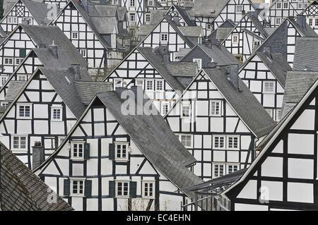 Historische Innenstadt Alter Flecken mit Fachwerkhäusern Freudenberg Kreis Siegen-Wittgenstein Siegerland Nordrhein - Stock Photo