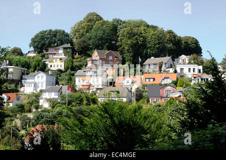 Residential houses at Suellberg Hill, Blankenese, Hamburg, Germany - Stock Photo