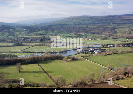 Looking up Wensleydale from above West Burton, North Yorkshire, after flooding in the valley bottom. - Stock Photo