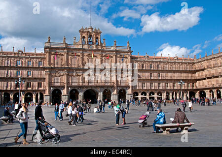 Plaza Mayor Square Salamanca with the Town Hall ( Castile and Leon )  Spain Spanish