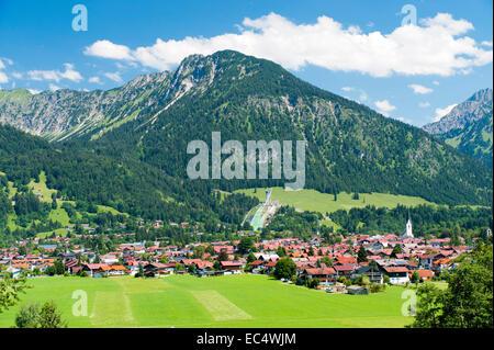 Oberstdorf in the Allgäu region at the foot of Shadow Mountain - Stock Photo
