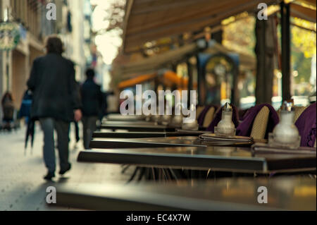 empty street cafe on Königsallee - Stock Photo