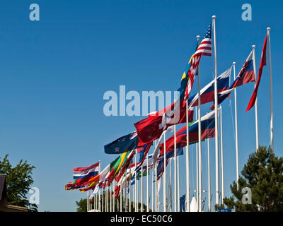 Flags in the Olympic Centre of Schilksee, Schleswig Holstein, Germany - Stock Photo