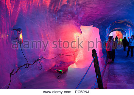 Montenvers- Cave of the Mer de glace (Sea ice)-Chamonix - Stock Photo