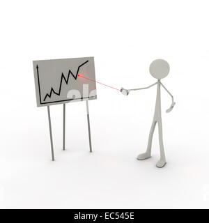 Figure with laser pointer and graph - Stock Photo