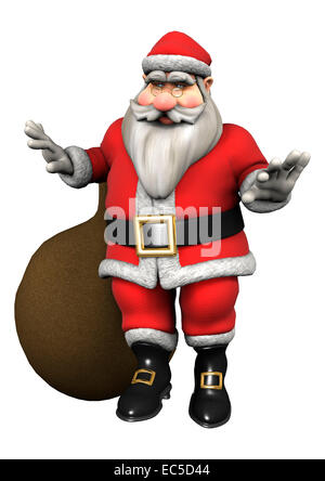 3D digital render of Santa with Christmas gifts isolated on white background - Stock Photo