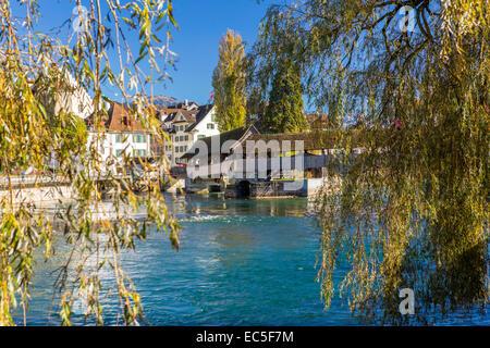 The Spreuer Bridge over Reuss River, Lucerne at the Lake Lucerne, Switzerland. - Stock Photo