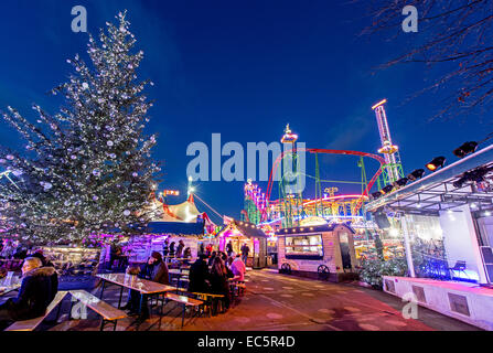 Winter Wonderland Hyde Park at Night London UK - Stock Photo