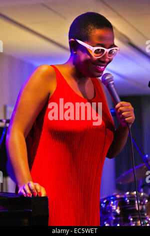 CECILE MCLORIN SALVANT sings at the 57 ANNUAL MONTEREY JAZZ FESTIVAL GALA - Stock Photo