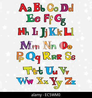 Christmas cartoon alphabet - Stock Photo