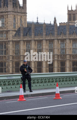 An armed officer of the Metropolitan Police in London stands guard on Westminster Bridge, outside the House of Parliament - Stock Photo