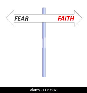 Two opposite arrows leading to faith or fear on a post in white background - Stock Photo
