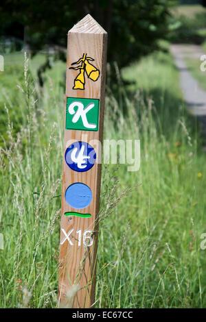 Signpost Kellerwald National Park, Vöhl Herzhausen, district Waldeck Frankenberg, Hesse, Germany, Europe - Stock Photo