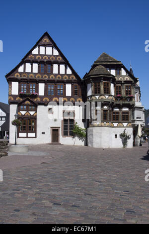 Deanery, half-timbered double gabled house, Hoexter, Weser Uplands, North Rhine-Westphalia, Germany, Europe - Stock Photo