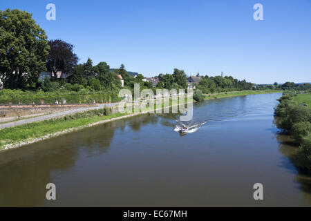 Bike path along the Weser River, Hoexter, Weser Uplands, North Rhine-Westphalia, Germany, Europe - Stock Photo