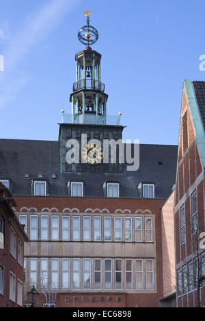Town hall tower, Emden, East Frisia, Lower Saxony, Germany, Europe - Stock Photo