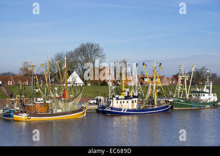 Shrimp cutters in the harbour, Greetsiel, commune Krummhoern, district Aurich, East Frisia, Lower Saxony, Germany, - Stock Photo
