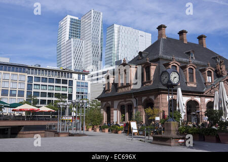Hauptwache, former guard house, in the background Palais Quartier complex, Frankfurt am Main, Hesse, Germany, Europe - Stock Photo