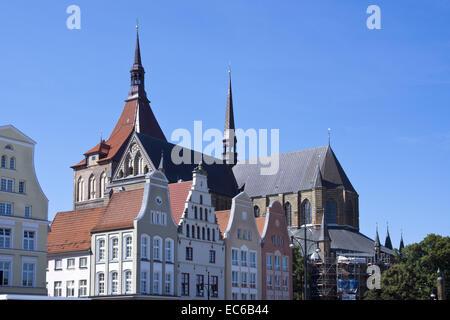 Market square, Hanseatic City Rostock, Baltic Sea, Mecklenburg-Vorpommern, Germany, Europe - Stock Photo