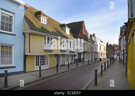 Old houses in West Street, Faversham, Kent, UK.  Faversham has some 500 listed buildings. - Stock Photo