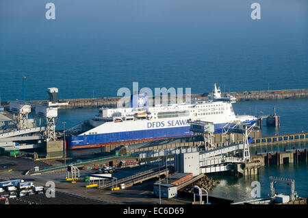 DFDS Ferry, Dunquerque Seaways docked at number 3 berth at Dower Eastern Docks.  Dover is the busiest ferry port - Stock Photo