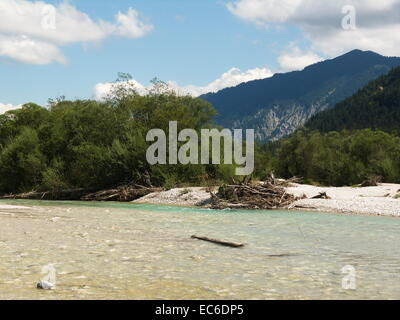 The river Isar in the Isarwinkel between Lenggries and Wallgau near Vorderriss in the bavarian Alps - Stock Photo