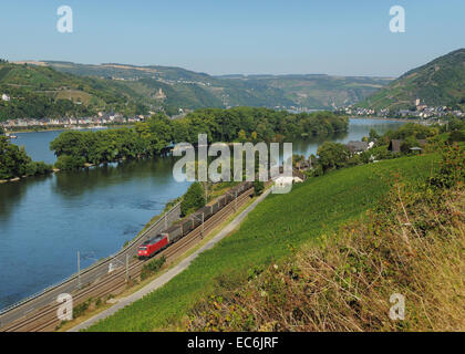 medium Rhine Valley near Lorch - Stock Photo