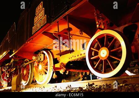 Romanian steam Locomotive in Arad Romania - Stock Photo