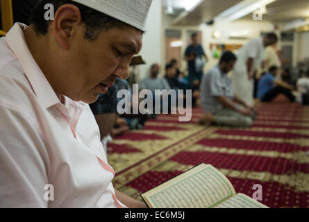 A Muslim American reads the Koran after breaking his fast during the month of Ramadan at the Islamic Center of Bay - Stock Photo