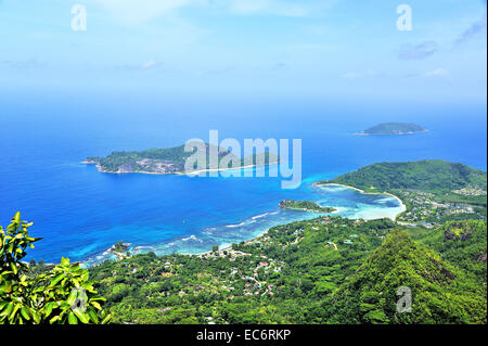 View of Morne Blanc on island Mahé, Seychelles - Stock Photo