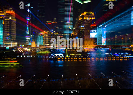 stadtansicht verfremdung big city lights shanghai pudong abstract stock photo royalty free. Black Bedroom Furniture Sets. Home Design Ideas