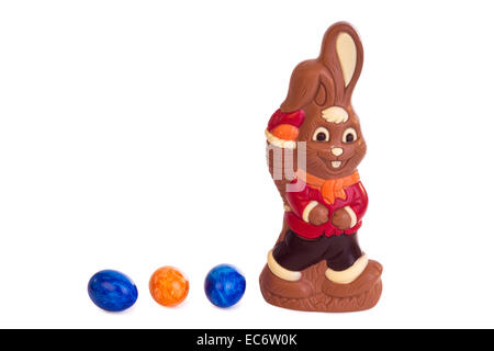 Easter bunny of chocolate isolated on white background - Stock Photo