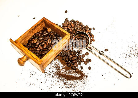 Coffee grinder, coffee beans, grinding 2 - Stock Photo